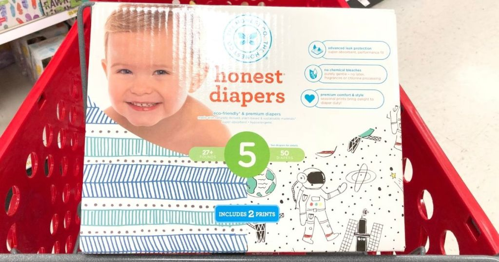 box of Honest diapers in a Target box