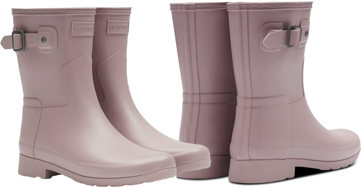 stock image with two views of a pair of hunter womens boots in lavendar