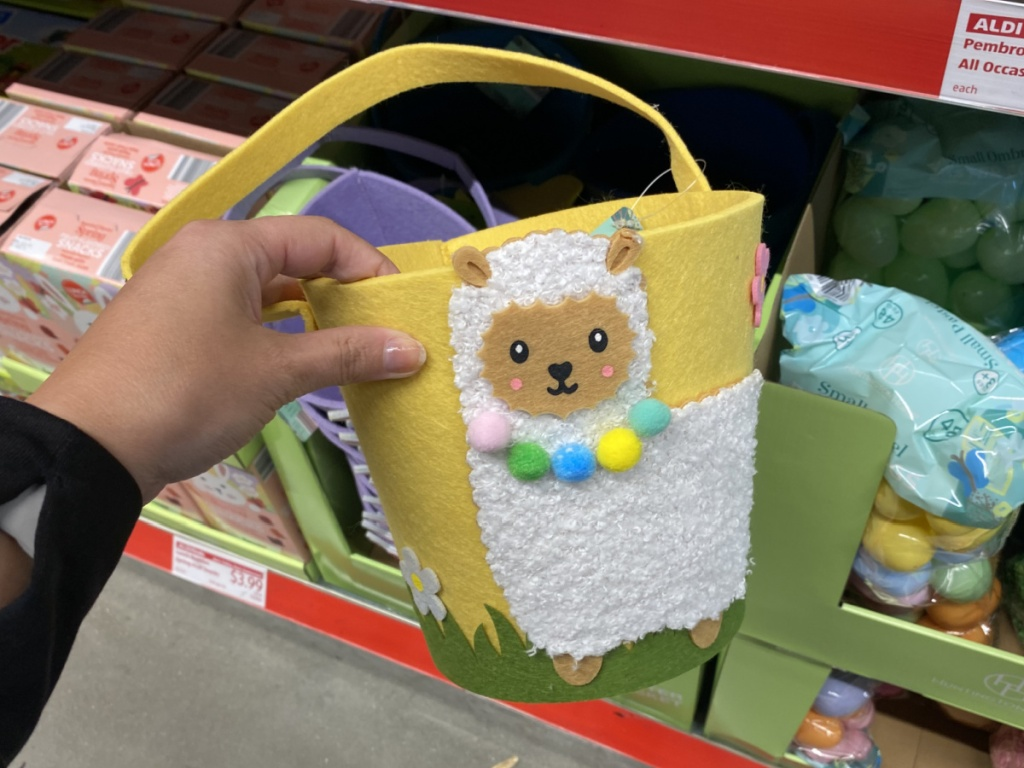 Llama themed Easter basket made of felt