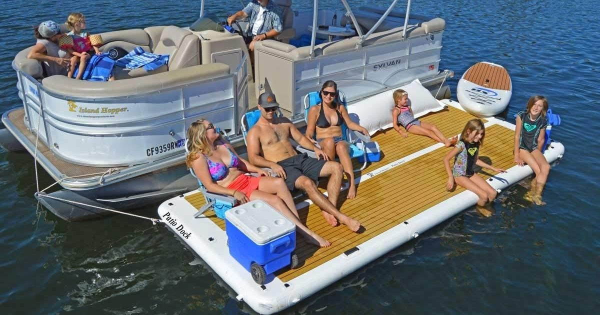 Island Hopper 15ft Party Dock attached to pontoon on water