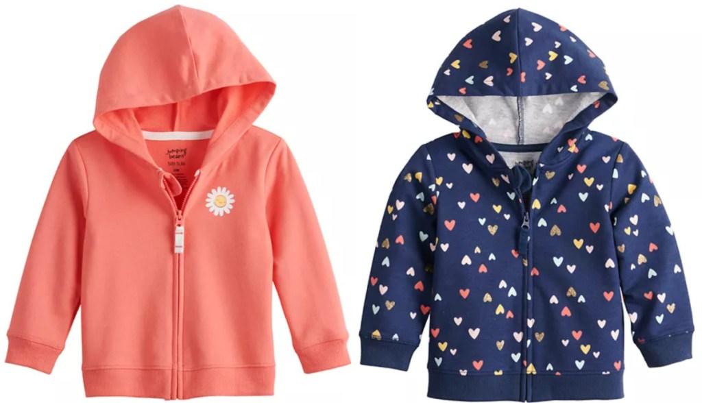 2 baby girl hoodies