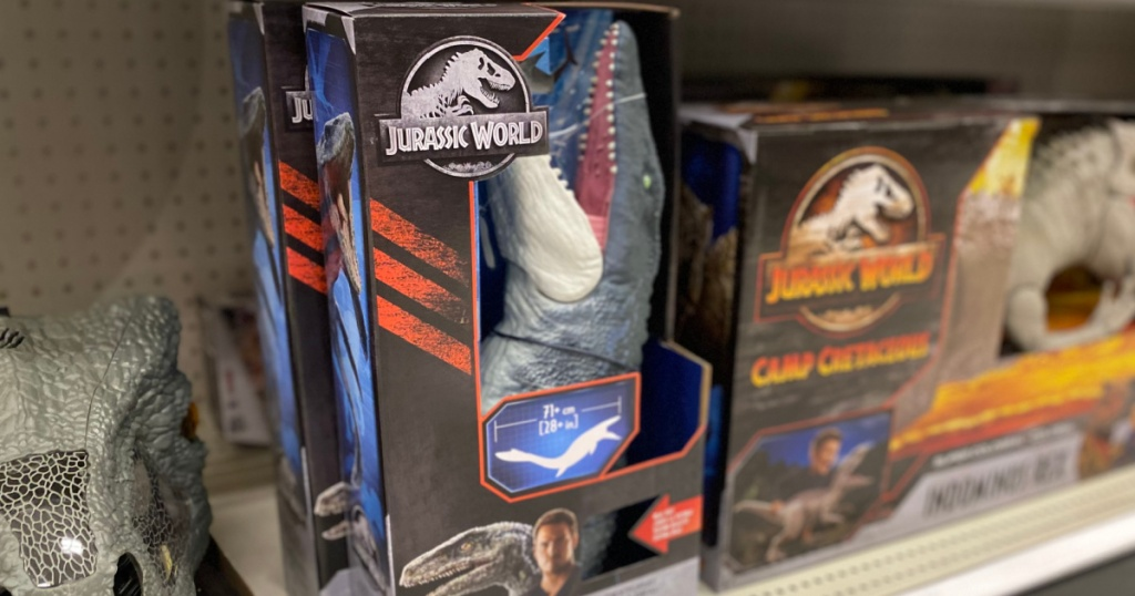 jurrasic world toys on shelf