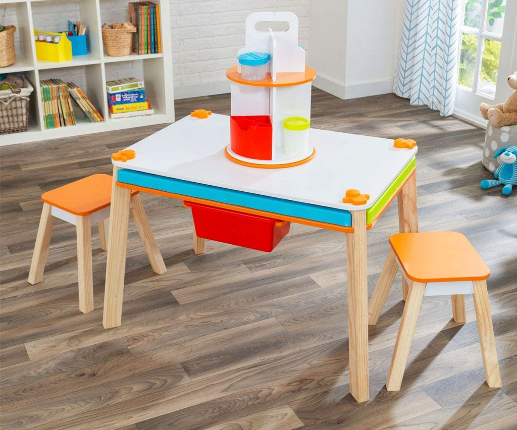creation station table and two chairs in playroom