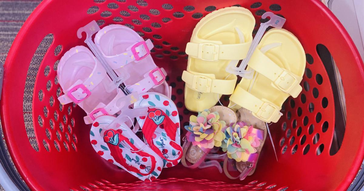 Cat & Jack brand kids shoes in a Target basket