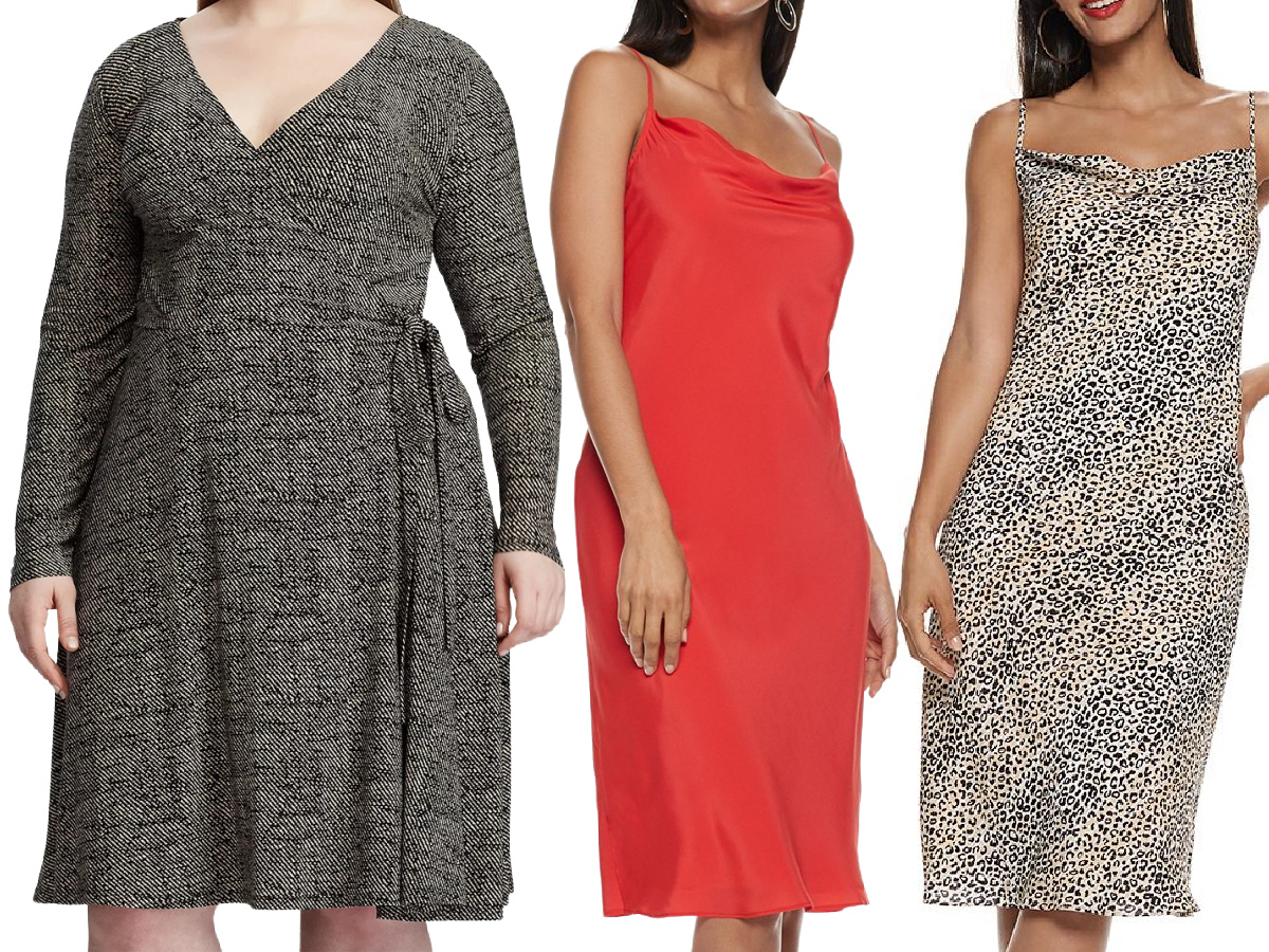 stock images of three women wearing dresses