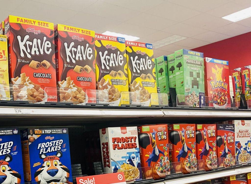 Krave Cereal on shelf at Target