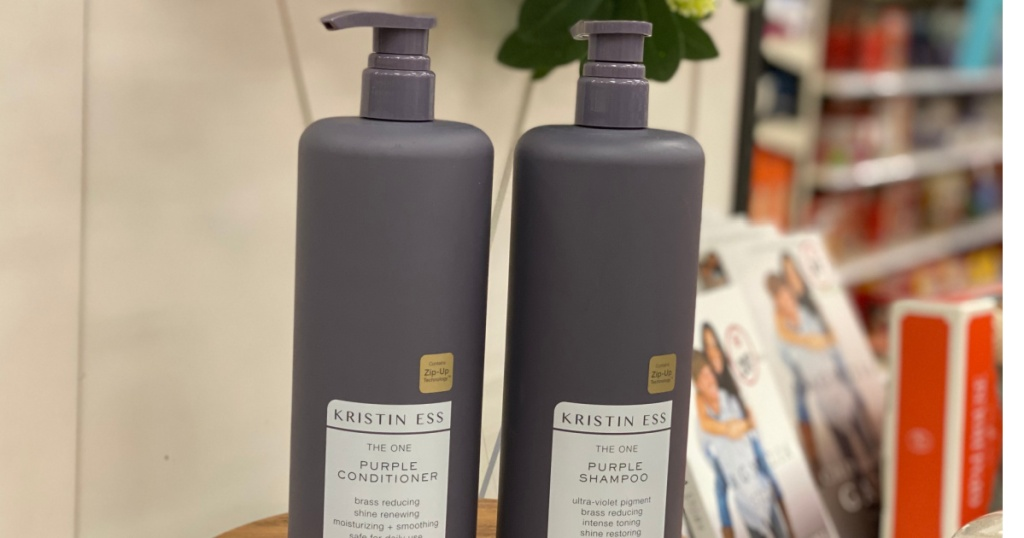 two bottles of shampoo on shelf