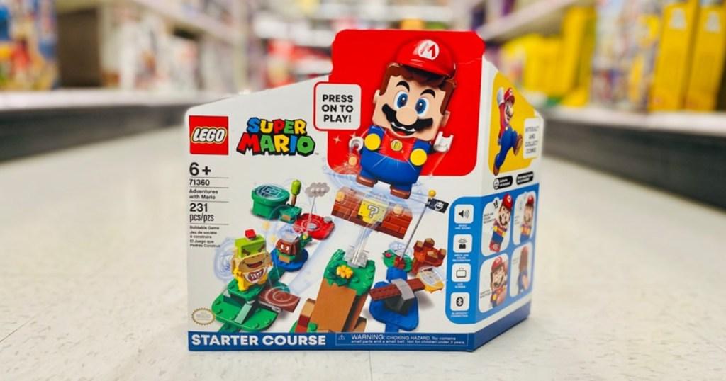 LEGO Super Mario kit on store floor