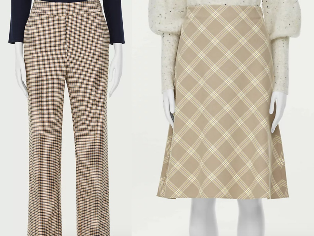 loft plaid pants and plaid skirt