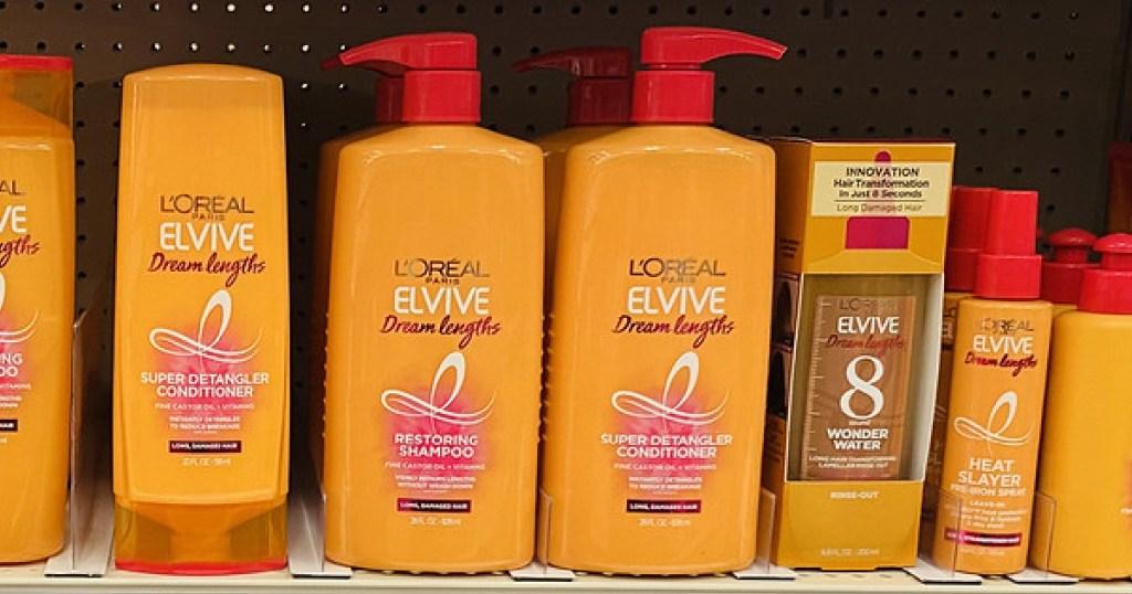L'Oreal Paris Dream Lengths Shampoo and Conditioner bottles on shelf