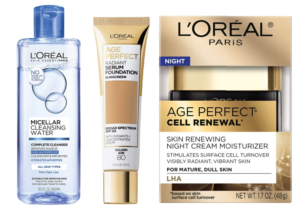 L'Oreal micellar cleansing water, age perfect serum foundation and age perfect cell renewal cream