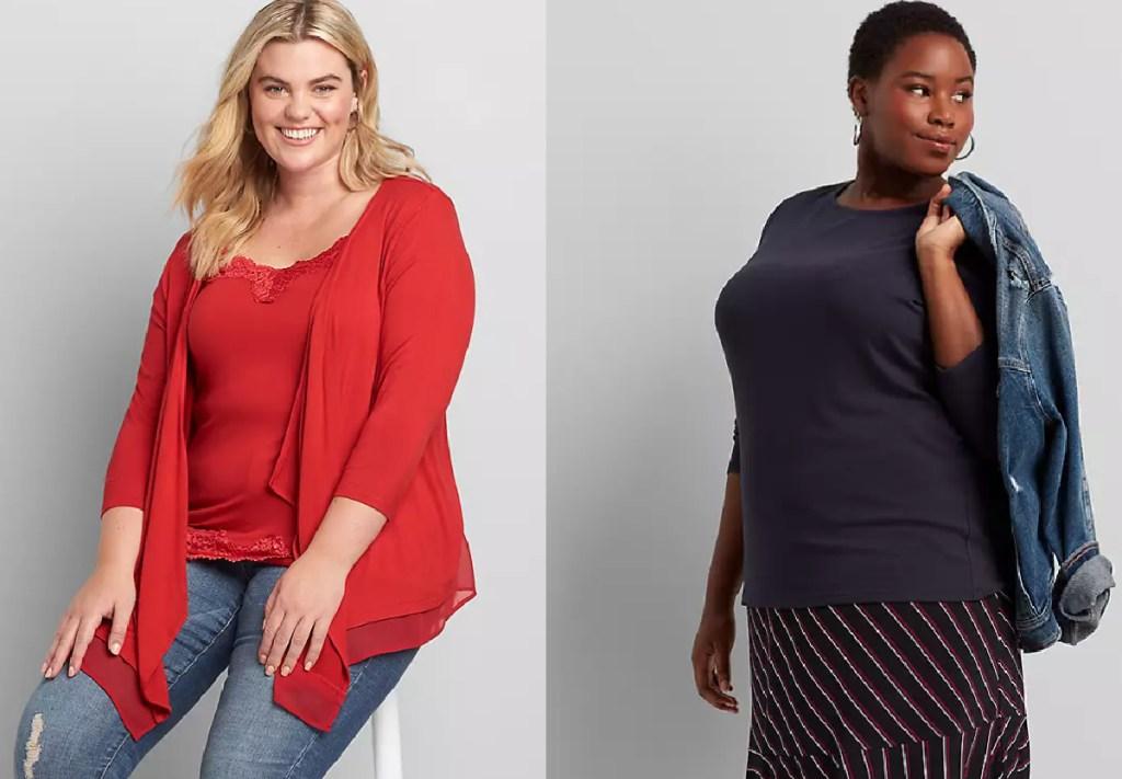 2 women wearing lane bryant tops