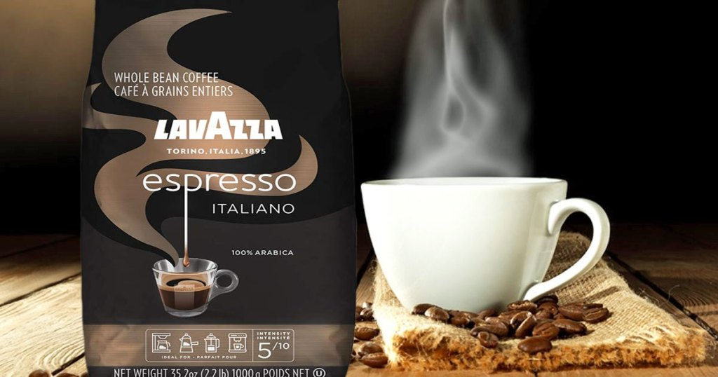 bag of lavazza coffee next to cup of coffee