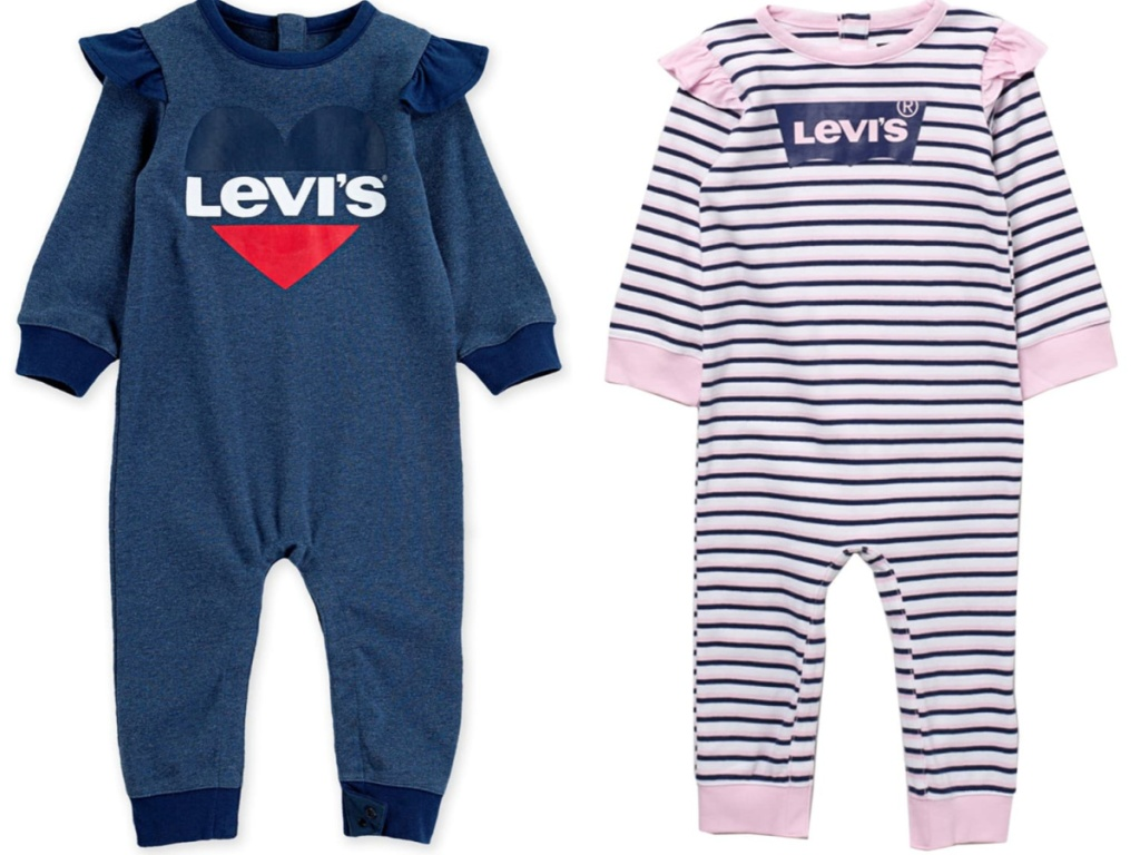 2 baby girl levi's coveralls