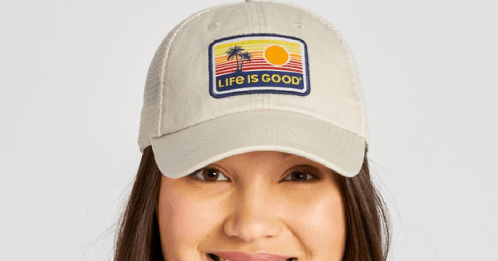 Woman wearing Life is Good Cap