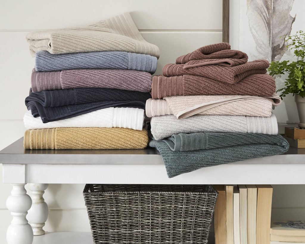 two stacks of folded towels