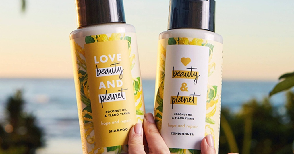 Love Beauty and Plant brand shampoo and conditioner in-hand