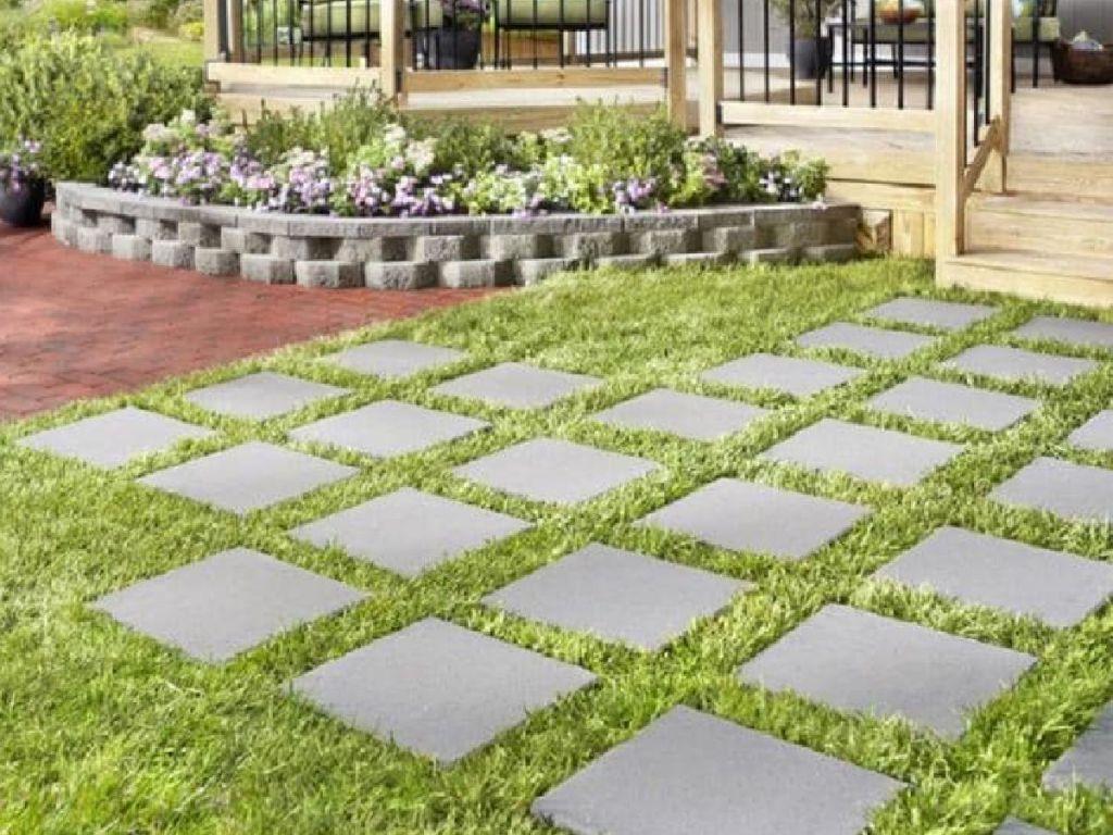 Gray patio stones in yard