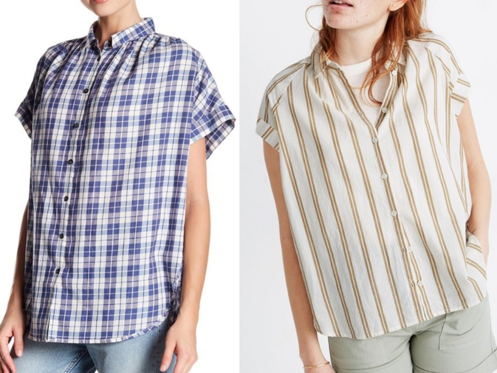 2 women wearing short sleeve madewell tops
