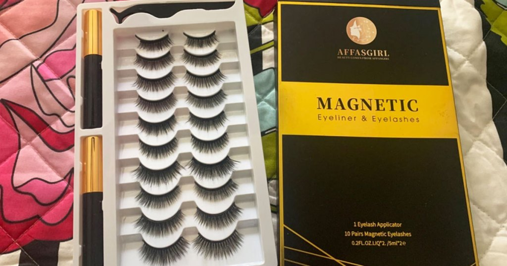 set of magnetic lashes next to its box
