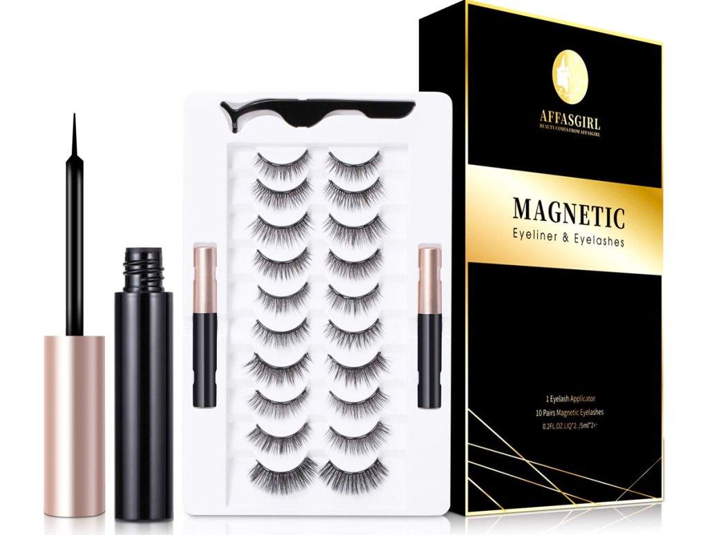 set of eyelashes, magnetic eyeliner, and applicator tool