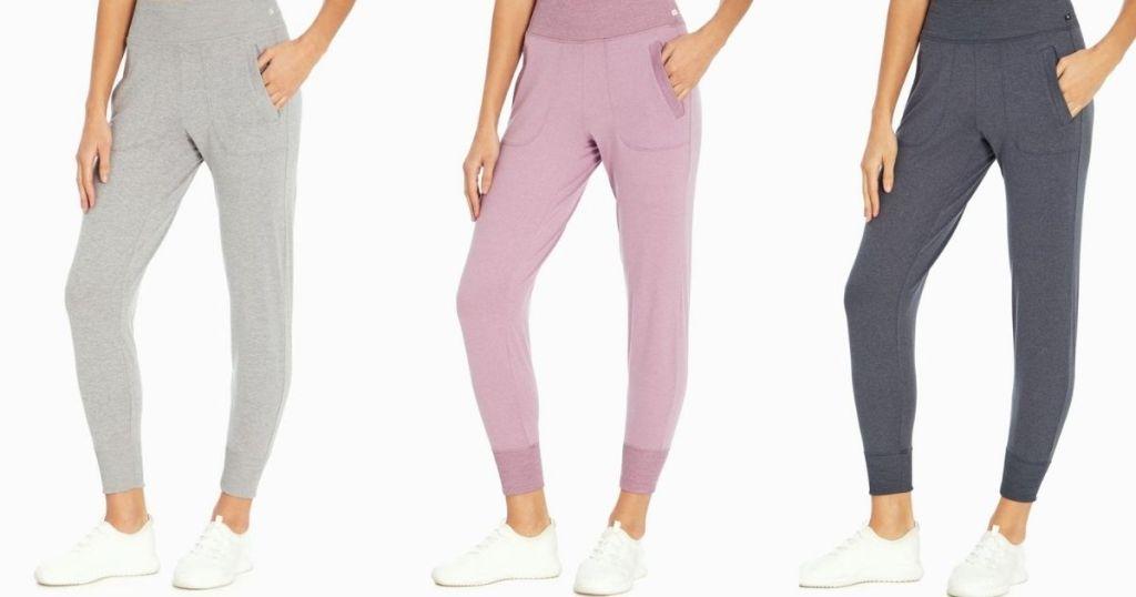 three women wearing joggers