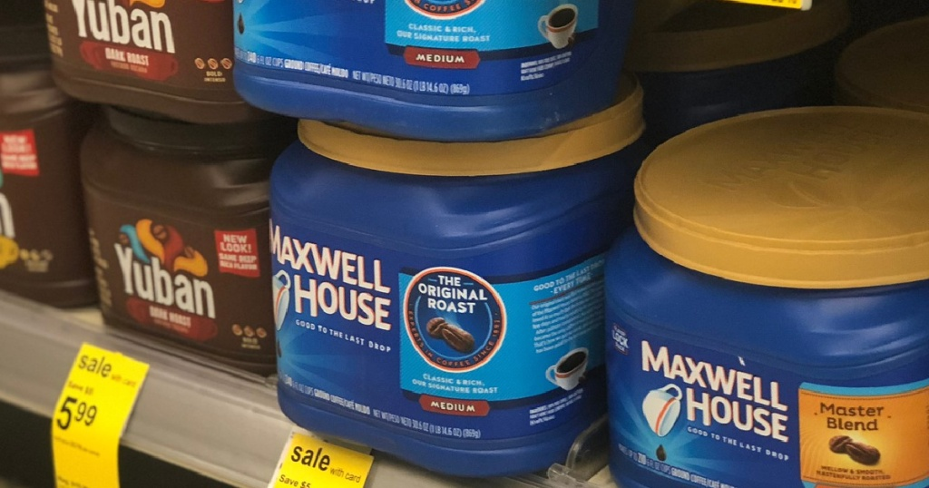 maxwell house coffee canisters on store shelf