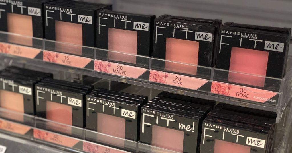 various blush products on shelf