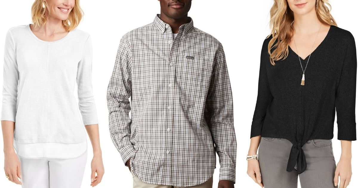 Two women and a man wearing shirts from Macy's