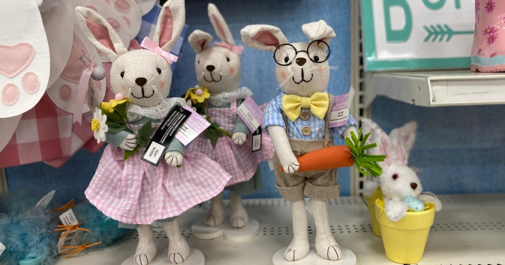 stuffed Easter bunnies on a shelf at michaels
