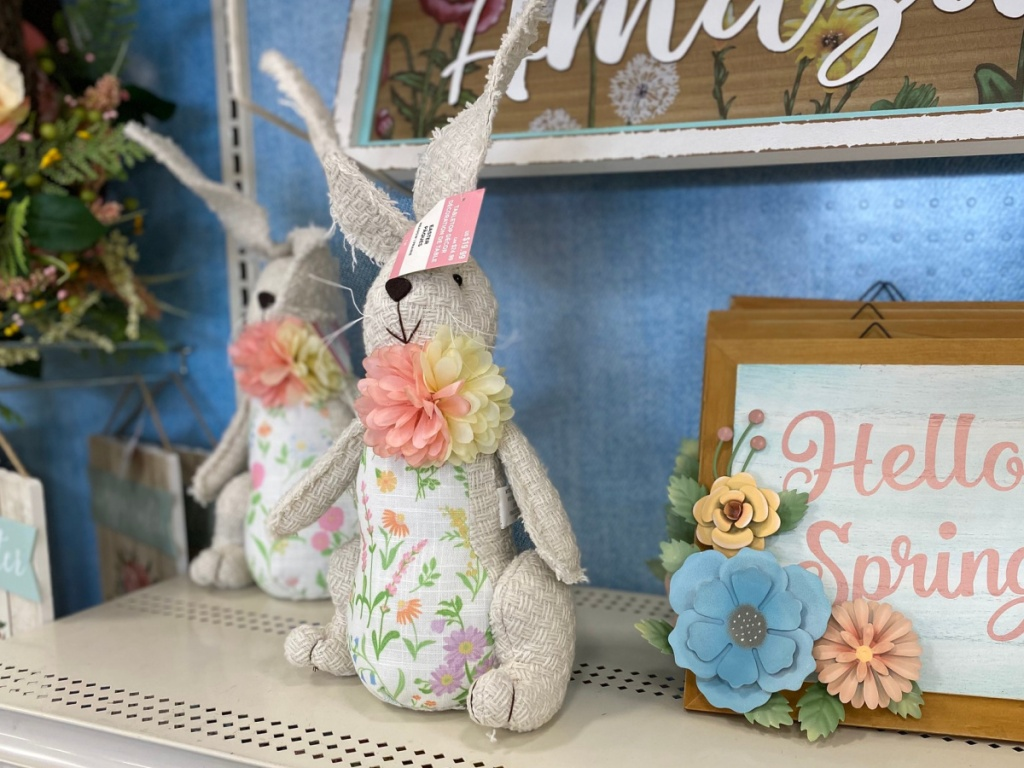 stuffed easter bunnies on shelf at michaels