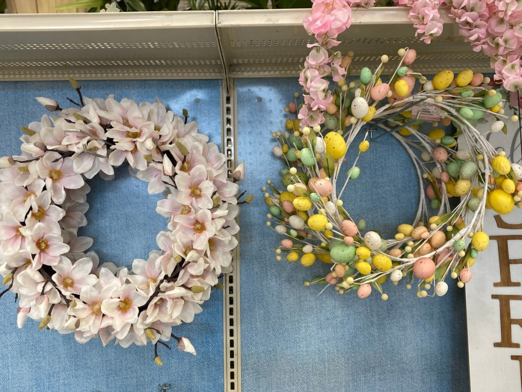 two spring wreaths at michaels