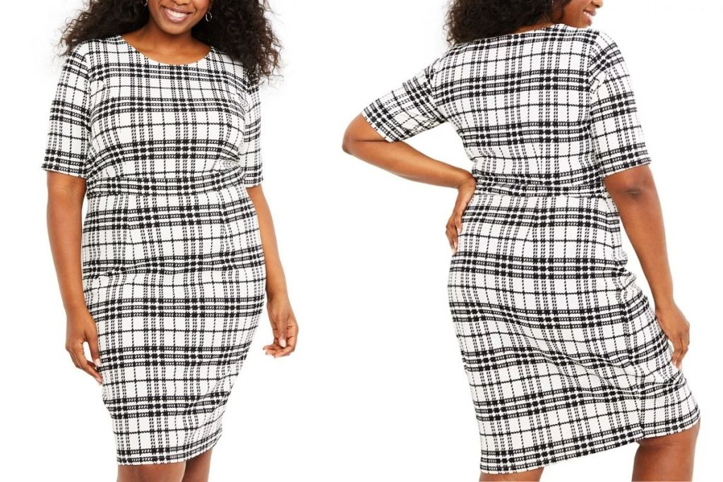 front and back of Motherhood Maternity Plaid Dress