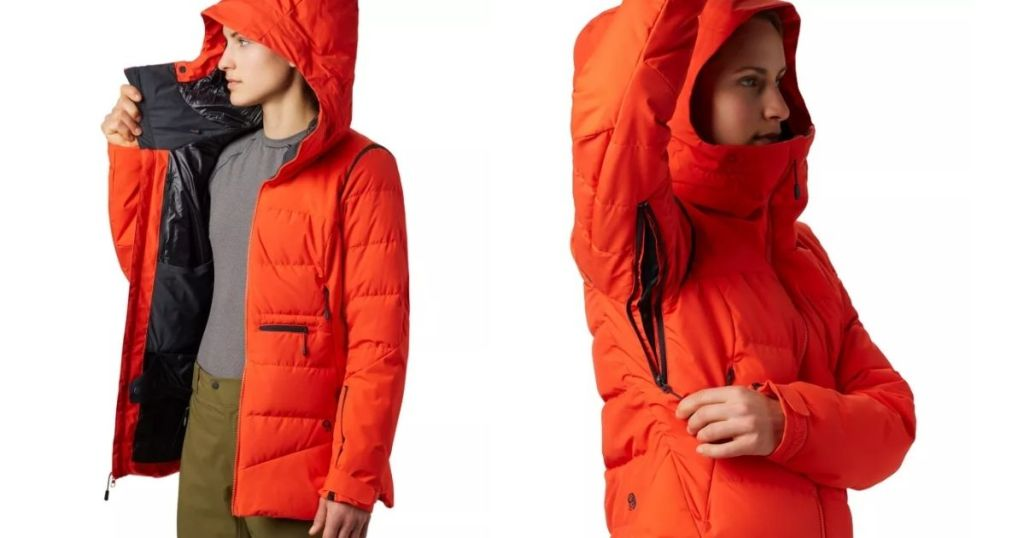 two views of a woman's winter jacket