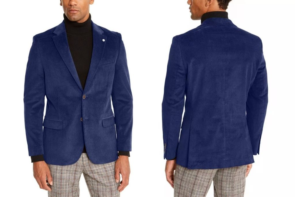 front and back of Nautica Men's Modern-Fit Corduroy Sport Coat