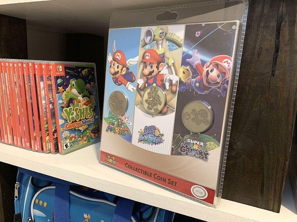 Super Nintendo Collectible Coin Set on shelf