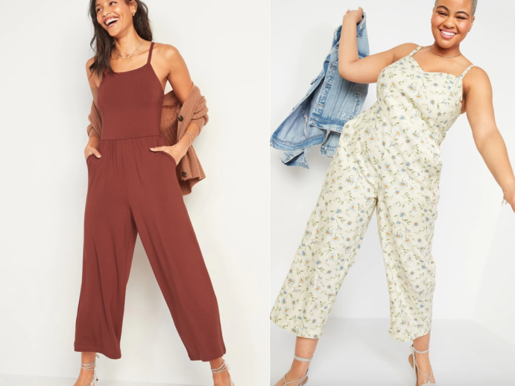 2 women wearing old navy jumpsuits