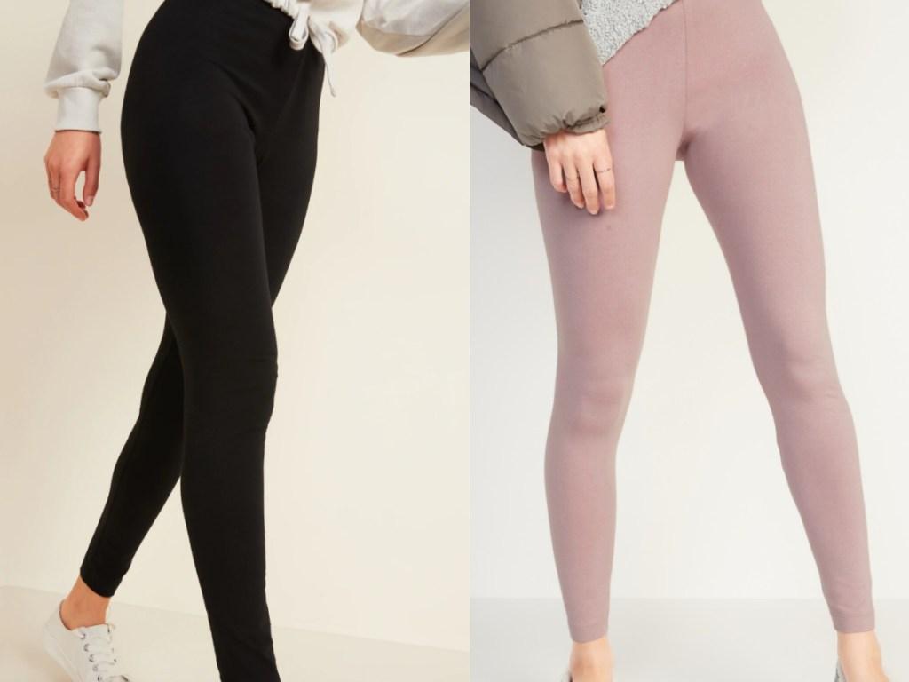 2 women wearing full length leggings