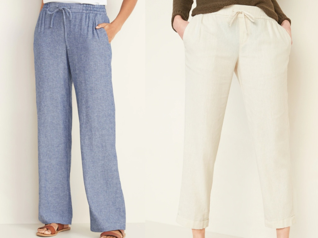 2 women wearing old navy linen blend pants