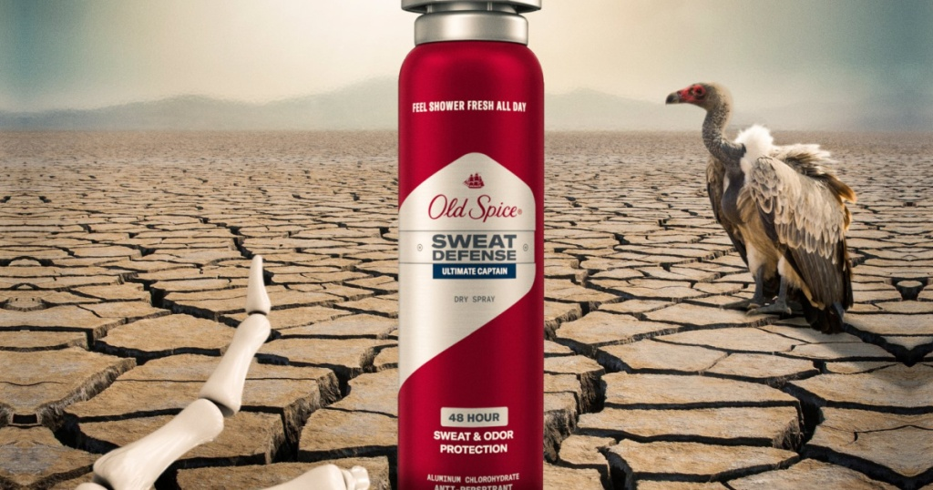 Old Spice Sweat Defense Spray in a desert