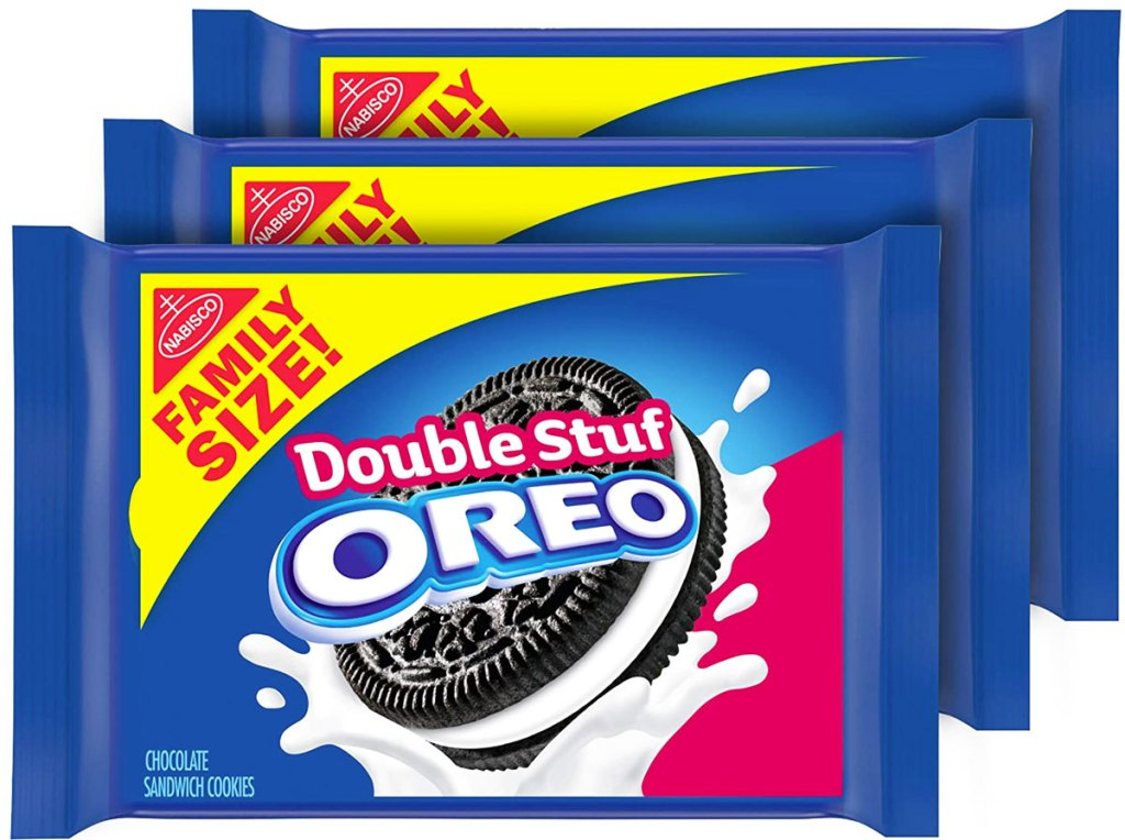 three family size packs of oreo cookies