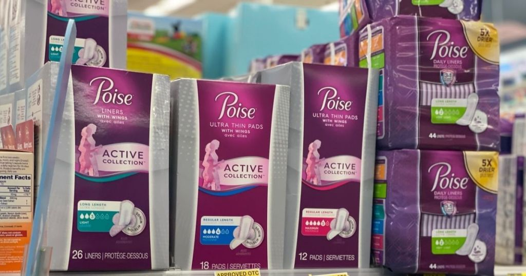 Poise Pads and liners on shelf in store