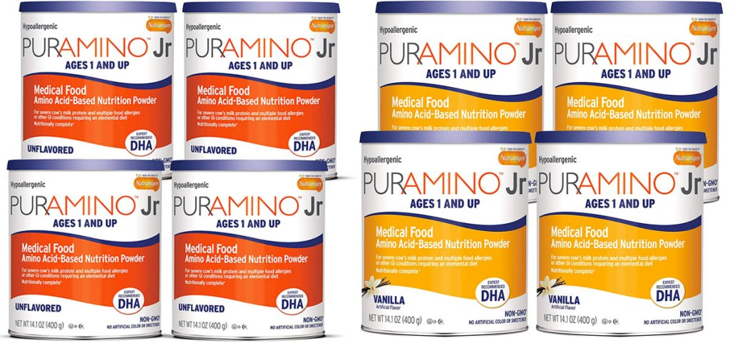 two 4-pack cans of Puramino infant formula