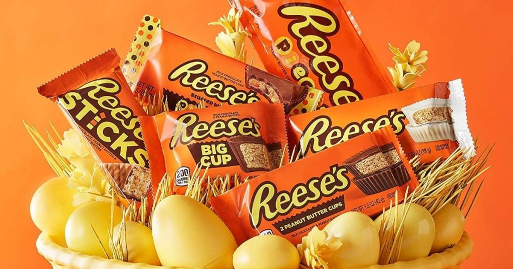 Reese's candy in an Easter basket