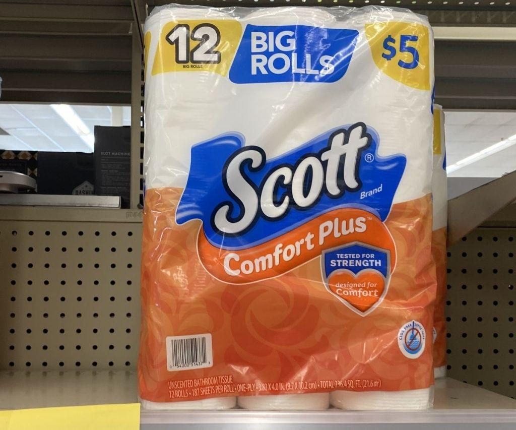 Scott ComfortPlus 12-Roll TP on shelf