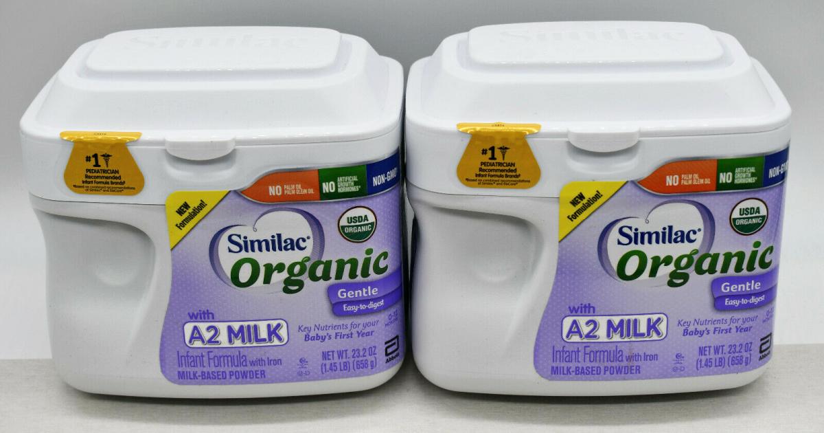 two tubs of organic similac baby formula