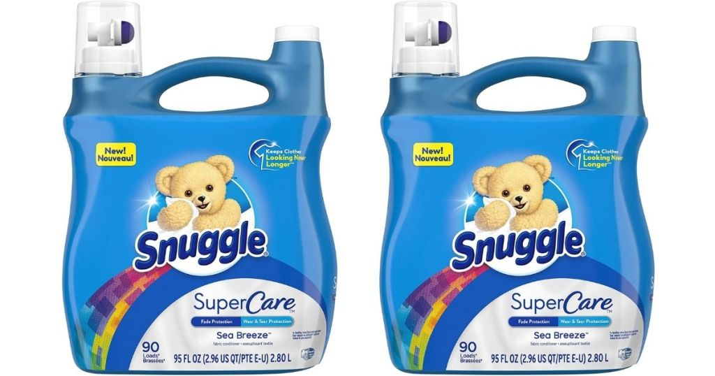 two bottles of Snuggle Super Care