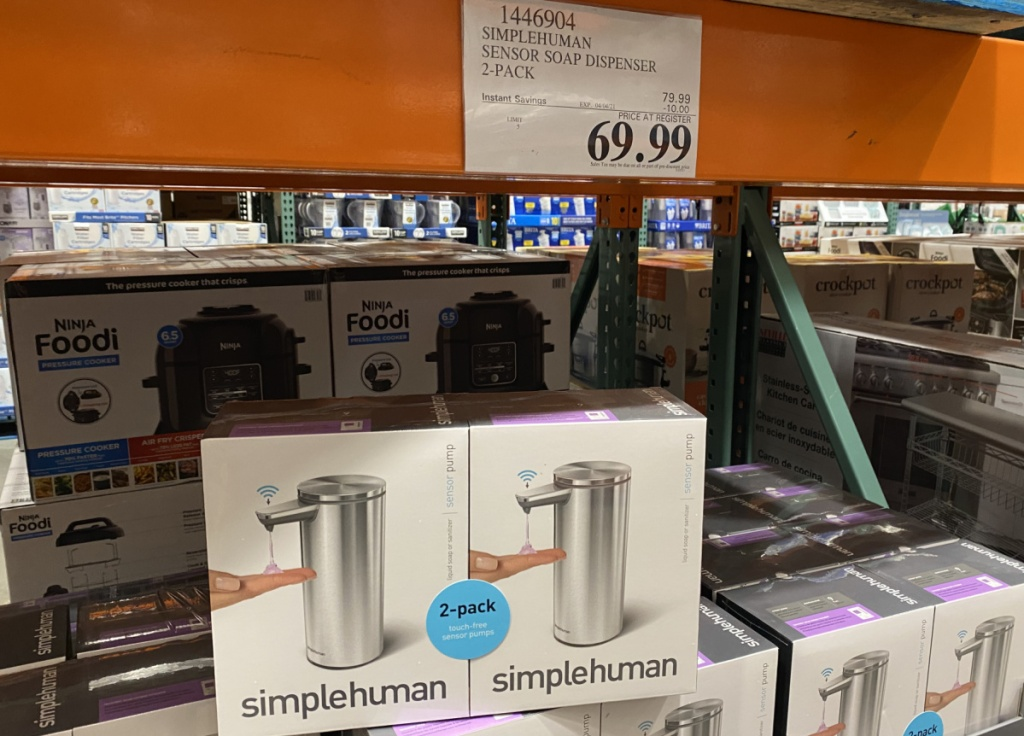 Large in-store display of soap dispenser 2-packs