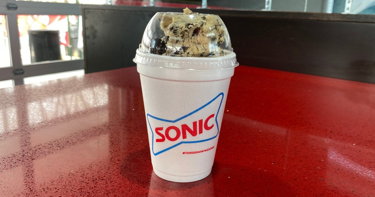 Sonic Oreo cookie dough blast on a red table