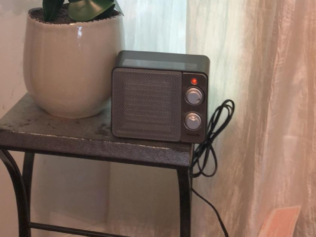 Small space heater on end table near plant